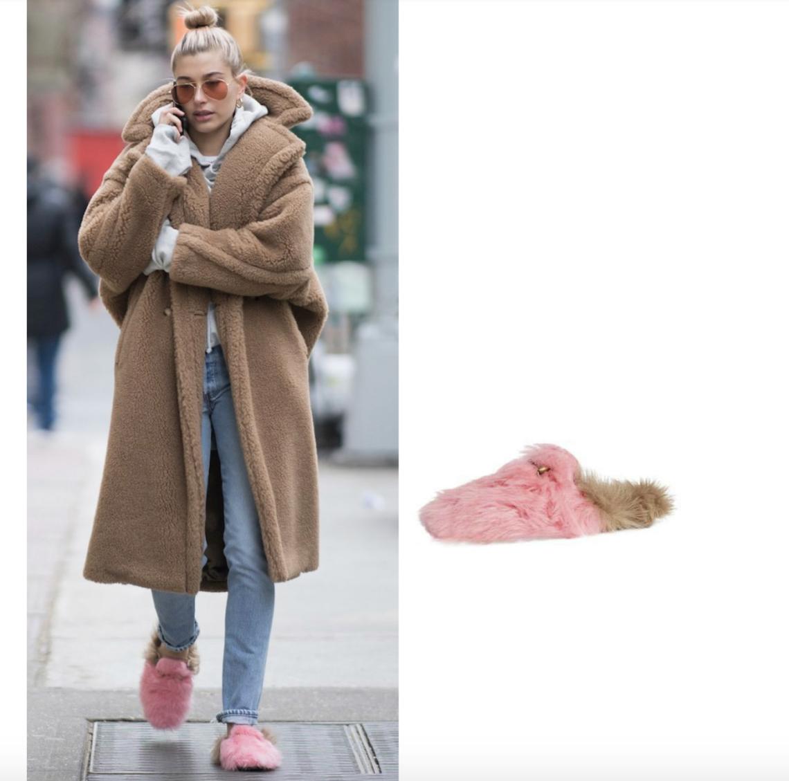 Hailey Baldwin's Gucci Fur Slippers