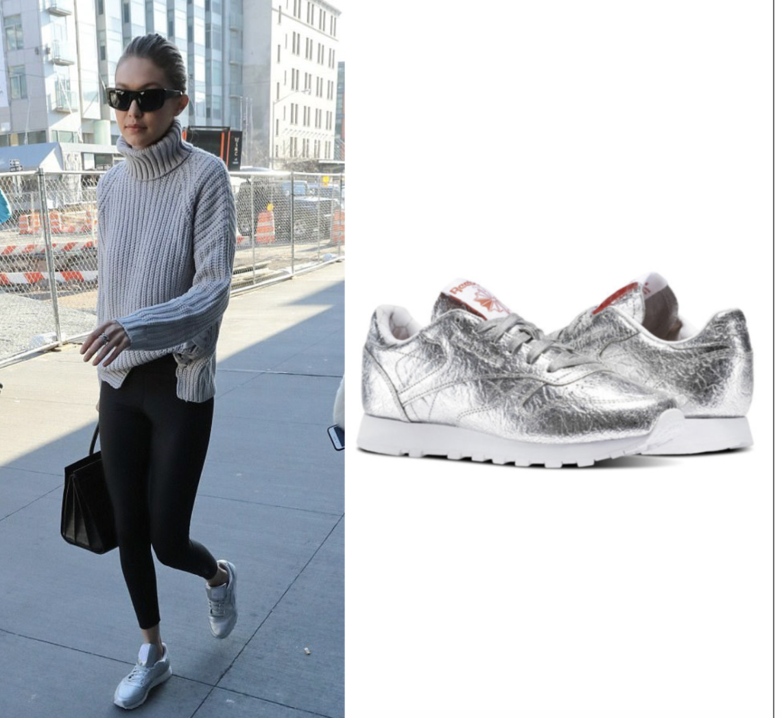 Shoe Obsession  Gigi Hadid s Silver Reebok Sneakers – Angel City Style f71482685