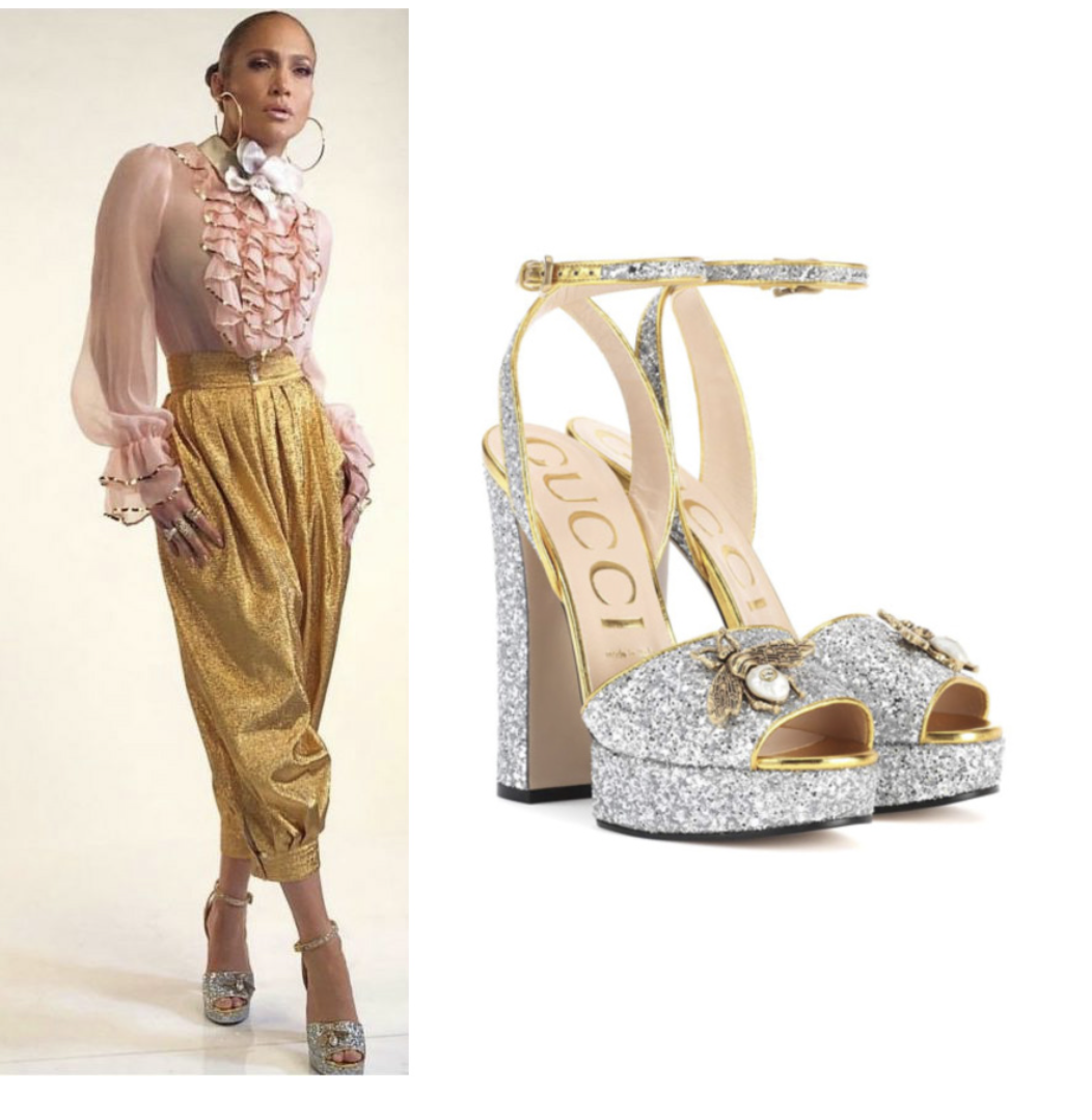 908b15191ee50 Shoe Obsession  Jennifer Lopez In Gucci Glitter Platforms – Angel ...