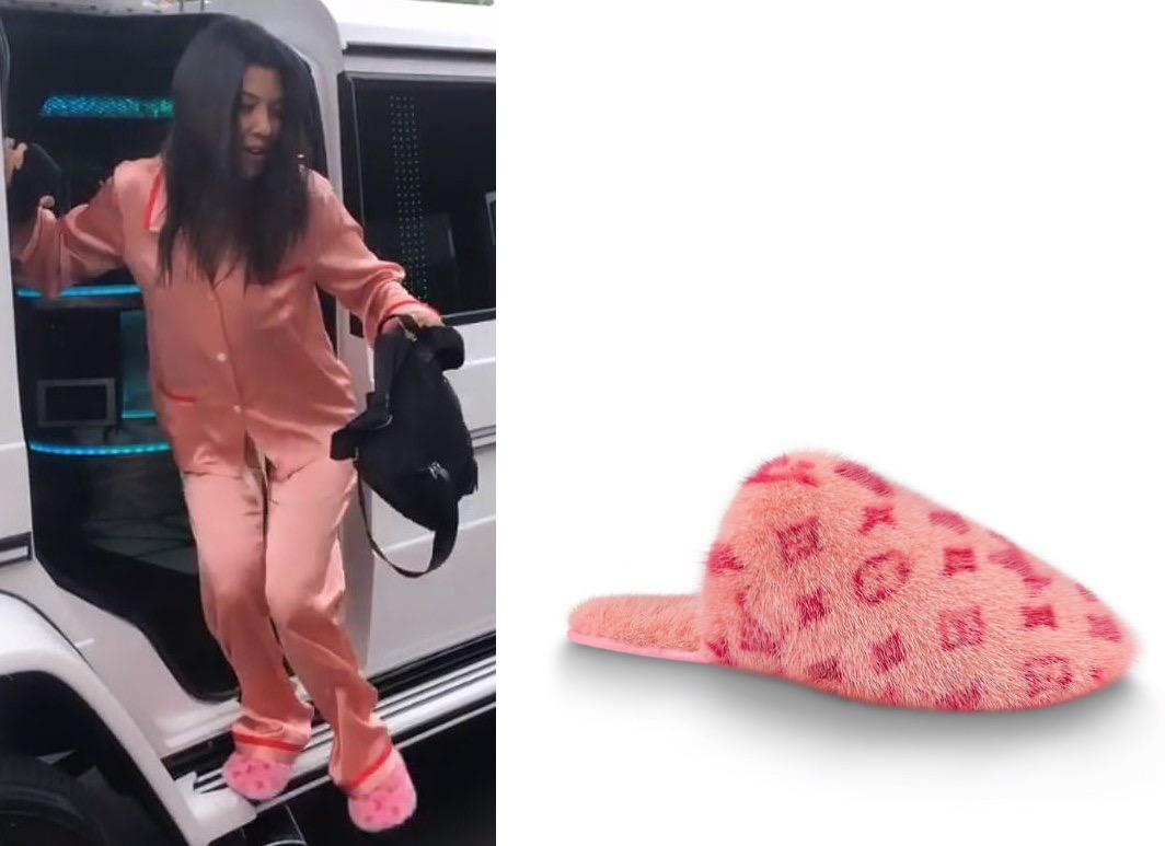 louis vuitton fur slippers pink
